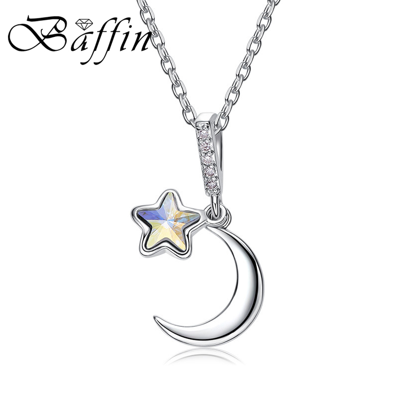 3d5dbef68bfe BAFFIN colorido Luna estrella colgantes collar cristales de SWAROVSKI plata  Color cadena collares ...