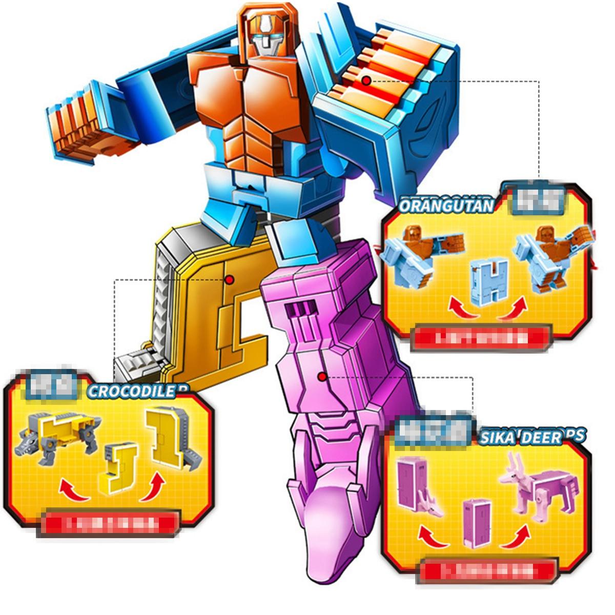 26 pièces lettre anglaise Robot déformation Alphabet Transformations Puzzle dinosaure Robot bricolage blocs de construction enfants jouets éducatifs - 5