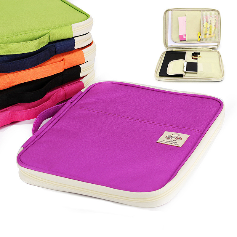 A4 Folders Document Bags Multi-functional Filing Product Portable Oxford Waterproof Storage Bag For Notebooks Pens Computer Ipad