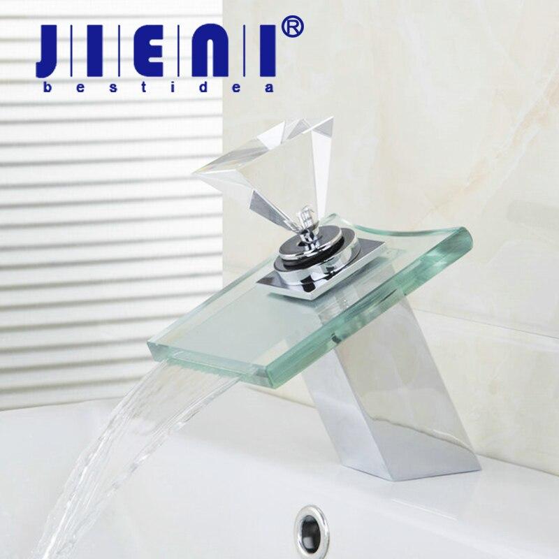 Jieni роскошные площади Ванная комната смеситель кран водопад Стекло Латунь Умывальник кран 8008-1 кран Chrome