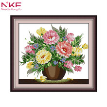 Liquid powder flower diy kit chinese cross stitch patterns on canvas embroidery needlework sets counting dmc home decor