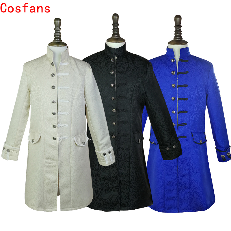 COSFANS Middle Ages Prince Punk Steampunk Jacket Long Sleeve retro men's uniform Costumes Coat Steampunk Retro Halloween cosplay
