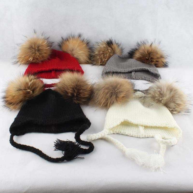 Chapéu do Inverno do bebê Crianças Gorro Com Orelhas de Rabo de Cavalo Duplo Grande Pompom De Pele Chapéu Para Crianças Cap Earflap Malha Skullies