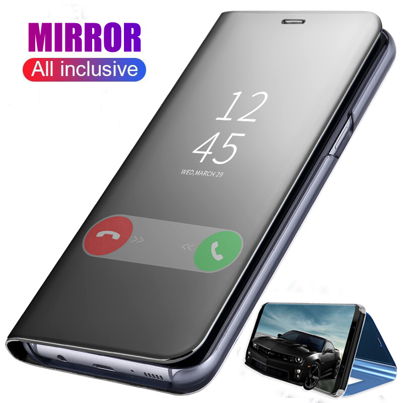 Smart Leather Mirror Flip Case For Samsung Galaxy A50 A40 A70 A10 A20 Note 10 S10 Plus Phone Cover Coque For Galaxy A 50 70 S 10