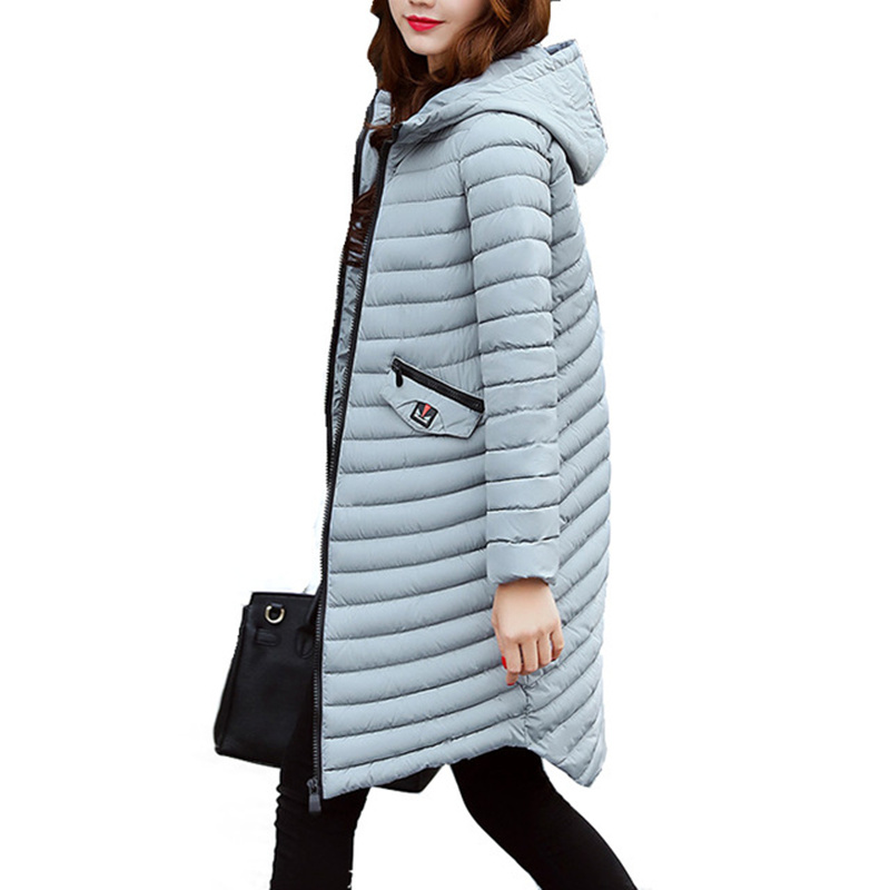 Black 2017 Female Warm Winter Jacket Women Coat Parkas Thin Cotton-padded Jacket Long Hooded Plus Size 2XL Outwear Women C3460 2017 winter women coat warm down cotton padded jacket thick hooded outwear plus size parkas female loose medium long coats