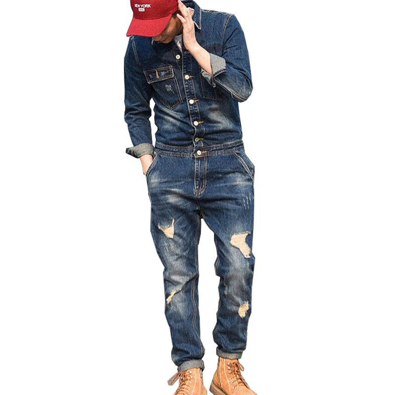 MORUANCLE Fashion Men's Ripped Denim Bib Overalls With Jackets Distressed Jeans Jumpsuits For Male Work Suit Stage Costumes male suspenders 2016 new casual denim overalls blue ripped jeans pockets men s bib jeans boyfriend jeans jumpsuits