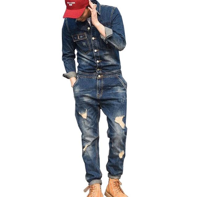3e6c9dd76385 MORUANCLE Moda hombre pantalones cortos de mezclilla rasgados con chaquetas  vaqueros desgastados monos para traje trabajo masculino trajes escenario