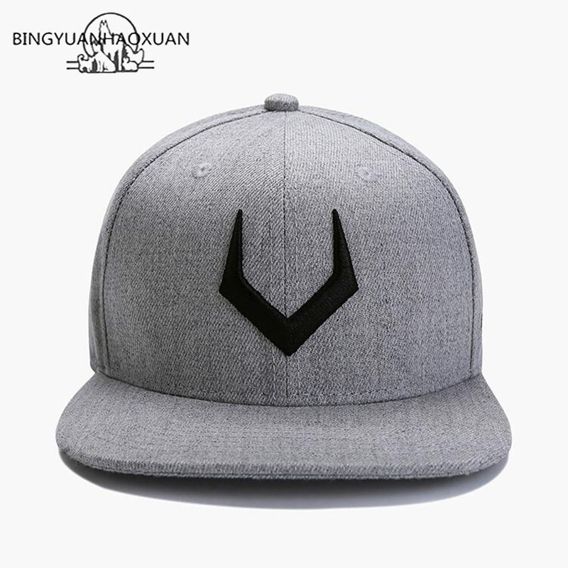 BINGYUANHAOXUAN High Quality Gray Wool Snapback 3D Pierced Embroidery Hip Hop Cap Flat Bill Baseball Cap For Adult