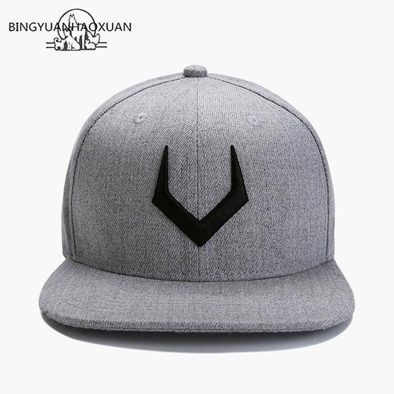 BINGYUANHAOXUAN High Quality Gray Wool Snapback 3D Pierced Embroidery Hip Hop Cap Flat Bill Baseball Cap For Adult