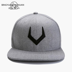 BINGYUANHAOXUAN High Quality Gray Wool Snapback 3D Pierced Embroidery Hip Hop Cap Flat Bill Baseball Cap for Adult(China)