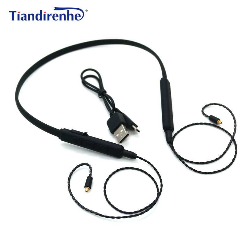 DIY MMCX Bluetooth Cable for Shure SE215 SE315 SE535 SE846 UE900 Headphone Detachable Earphone Adapter Wireless Cables with Mic for shure se535 se315 se215 se846 ue900 mmcx high quality 8 core single crystal copper silver cable earphone upgrade cable wire