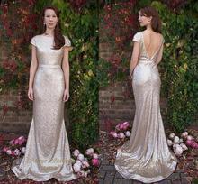 Gold Sequin Long Bridesmaid Dresses 2016 Elegant Scoop Backless Floor Length Wedding Party Dress Prom Gowns Vestido De Festa C46