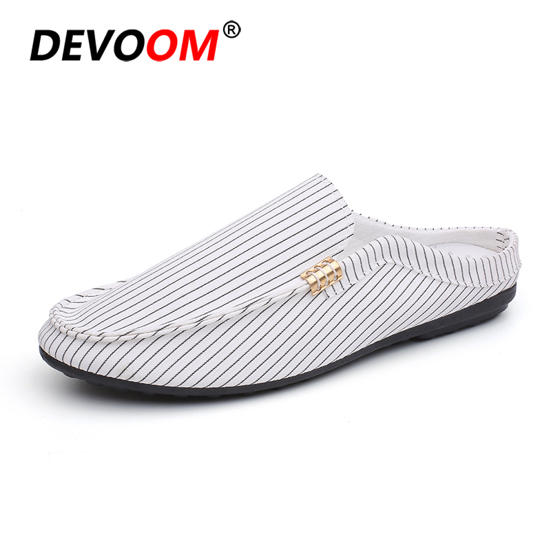 2018 Dual Fashion Men Canvas Loafers Summer Relax Breathable Casual Shoes Man Loafers Slip-On Male Flats Canvas Shoes Slipper 42