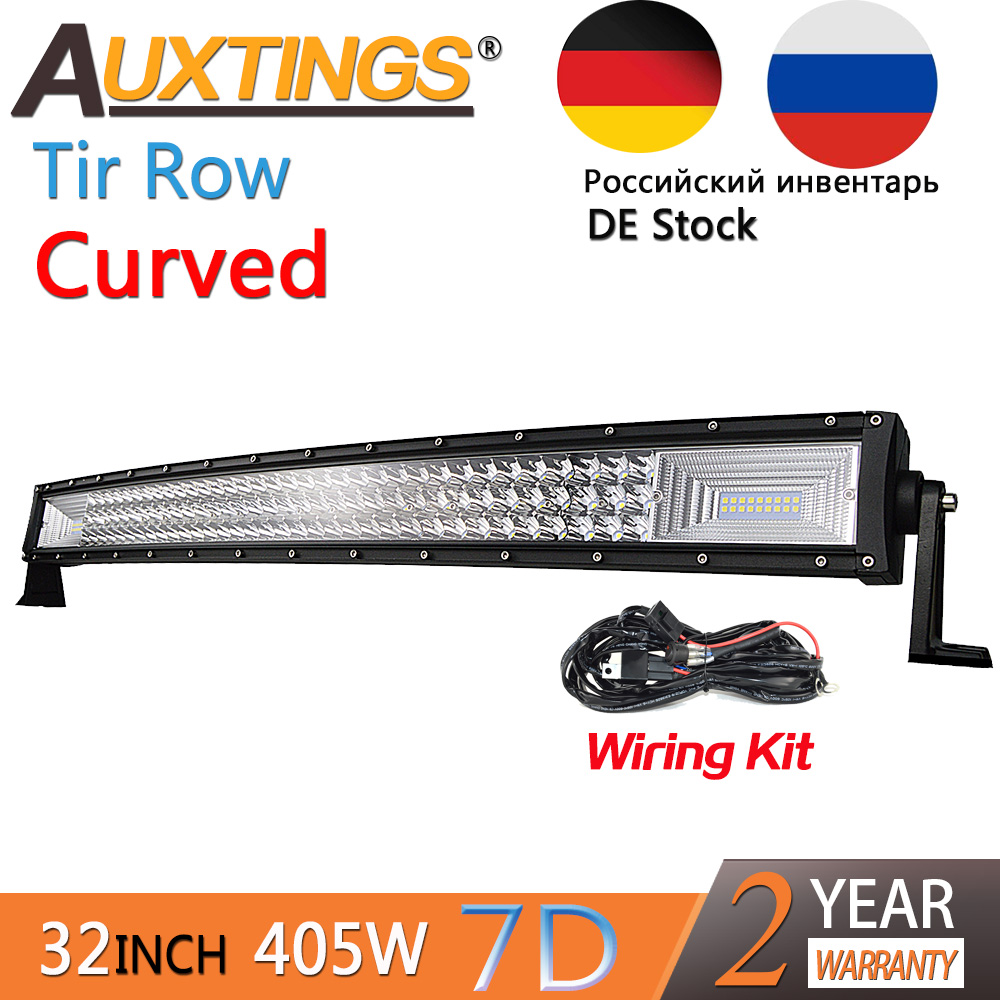 Auxtings 32inch 405w Curved 3-rows Movable Bracket IP67 Waterproof High Power High Lumens Tri Rows 32''7D LED Light Bar Offroad