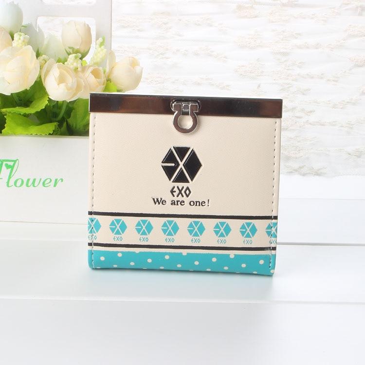 все цены на 2016 Korean Fashion Women PU Leather Wallet Printed Female Purse Exo Ladies Clutches New Brand Card Holder Valentine's Day Gift онлайн