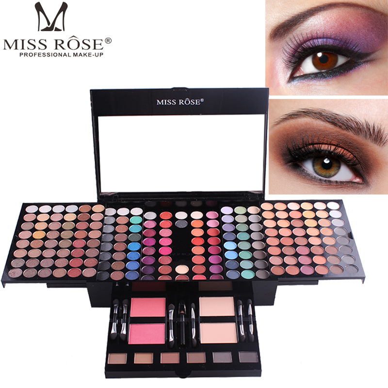 Miss Rose 180 Colors Eyeshadow Glitter Palette Naked Matte Blush Foundation Mirror Makeup Brush Eyebrow Powder Eyeliner