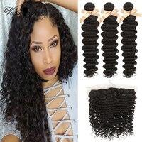 Queen Virgin Remy Peruvian Hair Bundles With Closure Deep Wave Bundles With Frontal 100% Human Hair 3/4 Bundles With Frontal