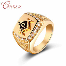 купить CANNER CZ Crystal Men Ring 316L Stainless Steel Ring with Freemason Masonic Free Mason Signet Mens Rings Rock Fashion Jewelry дешево