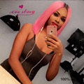Short pink wig bob style virgin human hair ombre lace wig dark roots 130% density pink brazilian lace front wigs middle part