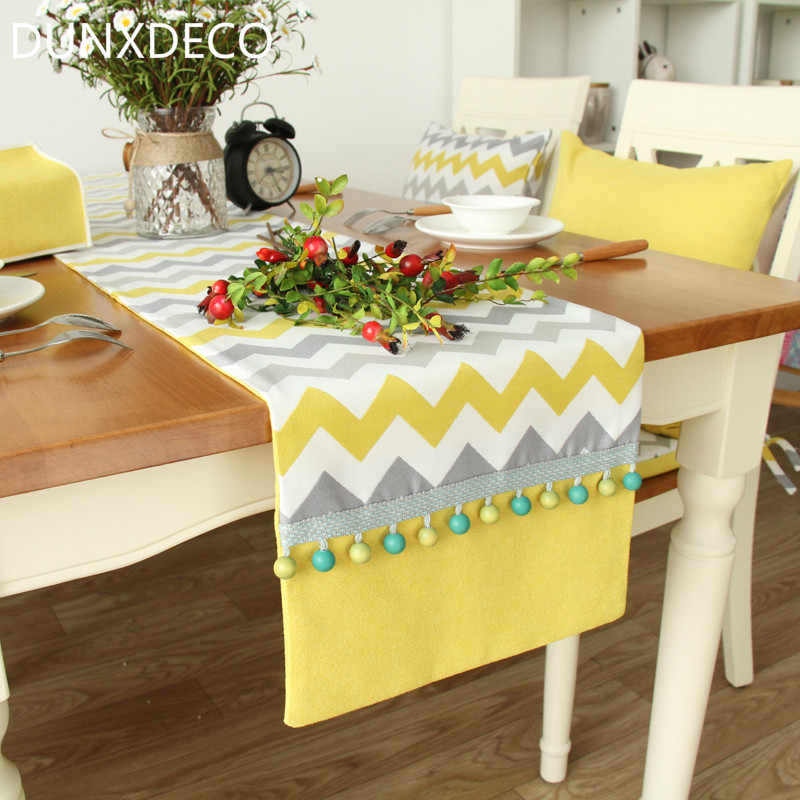 DUNXDECO Table Runner Poly Cotton Blend Nordic Yellow Gray Wave Fabric Tablecloth Mesa Party Decoration Pop Art