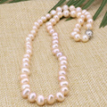 New fashion orange natural pearl beads 7-8mm choker necklace for women hot sale silver plated clasp chain jewelry 18imch B3185