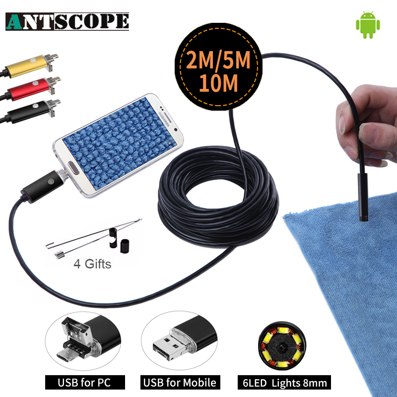 Newest Endoscope 8mm 6 LED PC USB Endoscope HD 720P 2M 5M 10M USB Android Borescope OTG Tube Inspection Endoscopio Phone Camera mini camera endoscope 2in1 android usb camera 2m 5m 8mm hd tube pipe waterproof phone pc usb endoskop inspection borescope otg