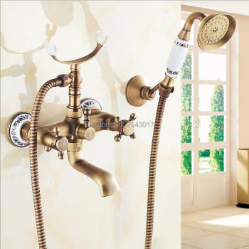 Royal Style Antique Brass Shower Faucet Wall Mounted Ceramic Hand Shower Luxury Rainfall Shower Mixer with Swivel Spout ZR016