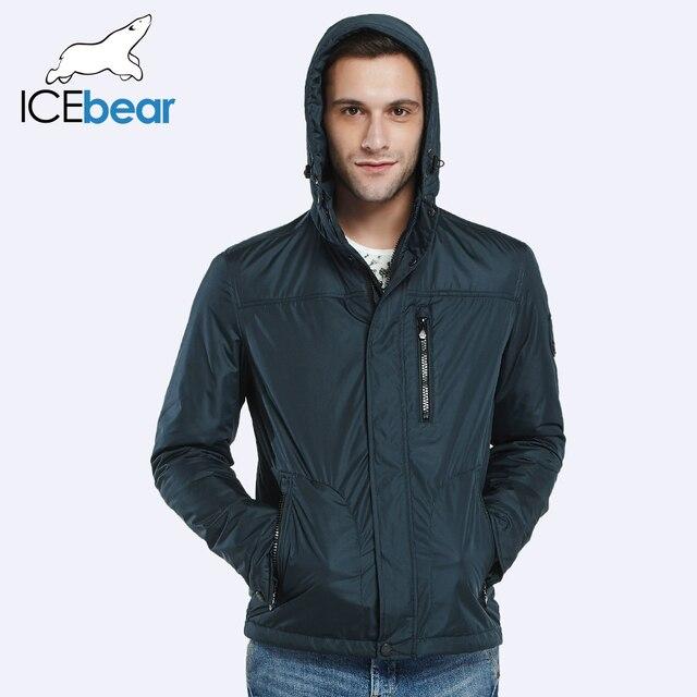 ICEbear 2016 Три цвета тонкий хлопок марка одежды весна осень Мужчины Короткие пальто с  капюшоном  молнии большого размера куртки 16MC006D