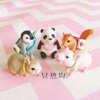 mini japan figure toyModel 5pcs/set cute penguin squirrel panda rabbit pig