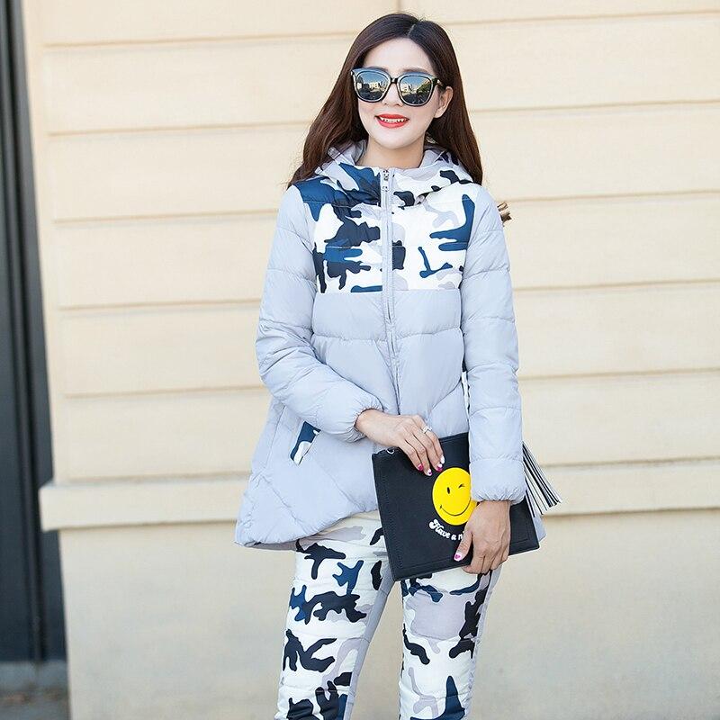 Tracksuit 2018 New Winter Jacket women Suit Thick Warm Slim Hooded   Parka   Coat+Pants 2 Piece Set Female Camouflage Outwear   Parka
