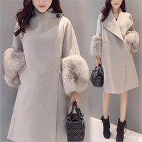 New Autumn Winter Women Coat Plus Size Fashion Loose Solid Covered Button Slim MD Long Woolen Blends Coat For Women Outerwear