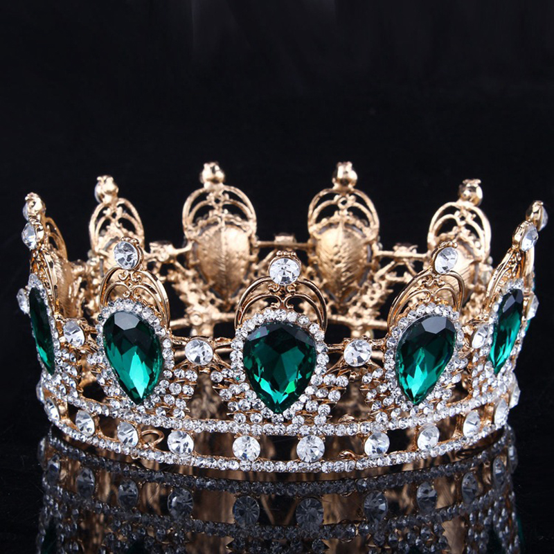 King/Queen Crown Green Gem Stone Bridal Tiaras Gold/Silver Crystal Zircon Bride Wedding Hair Jewelry Pageant Prom Crown Headband
