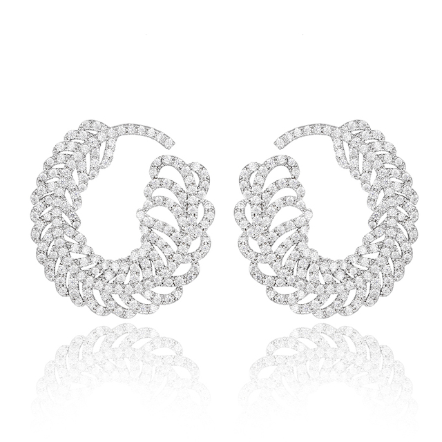 Silver-Tone Prong Austrian Crystal Cubic Zirconia Elegant Big Feather Twisted Round Stud Earrings For Women