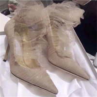 Zapatos mujer 2019 high heels ladies wedding dress pumps woman bridal shoes lace mesh glitter pointy toe summer sock boots