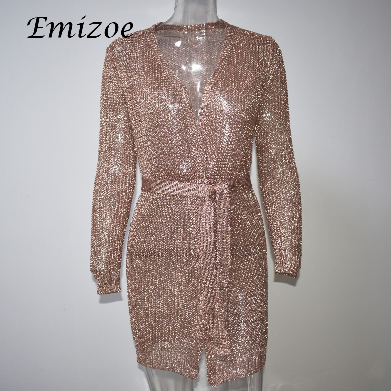 Emizoe sexy party club v neck bow knitted dress women very short mini party dress long sleeve bodycon cardigan dress