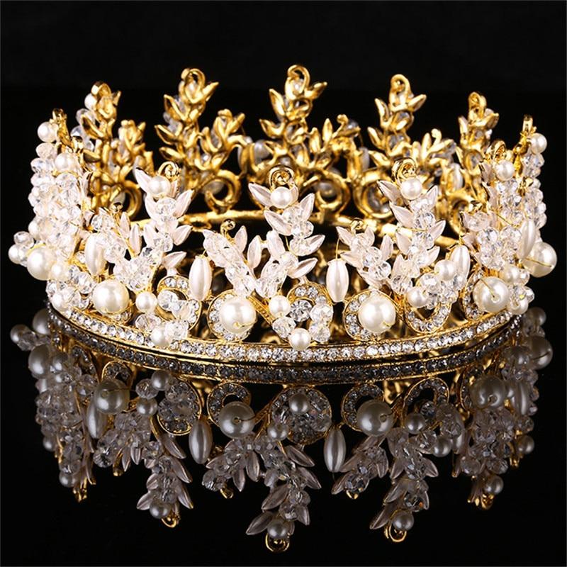 New Fashion Vintage Handmade Rhinestone Crown Gold Silver Princess Diadem Bride Modelling Accessories Crystal Hair Jewelry Gift недорого