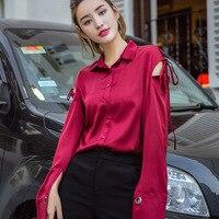 2017 الخريف تصميم جديد أزياء المرأة شيرت ، أوروبا نمط النساء الحمراء عارضة قمصان 0082