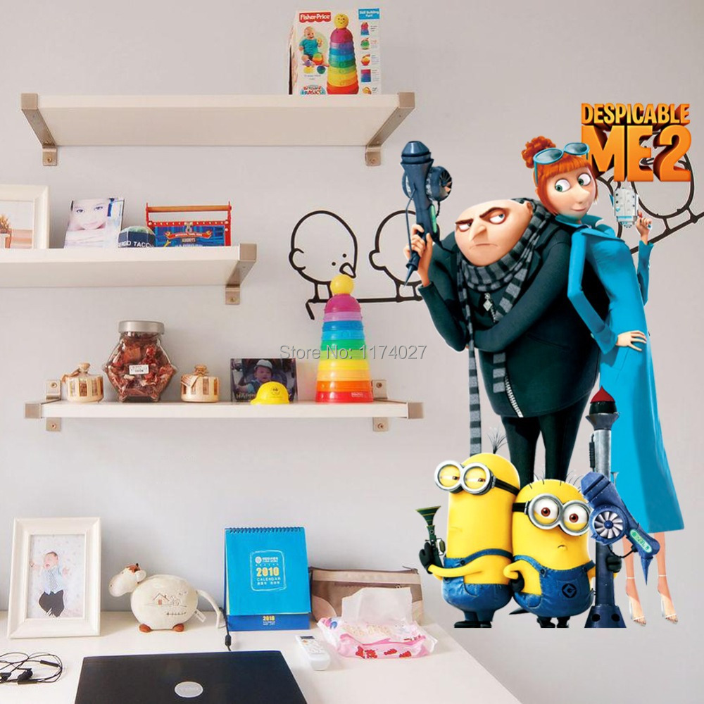 Free Shipping Minions Wall stickers Despicable Me 2 Cartoon wallpaper PVC Decals Home decoration Decor