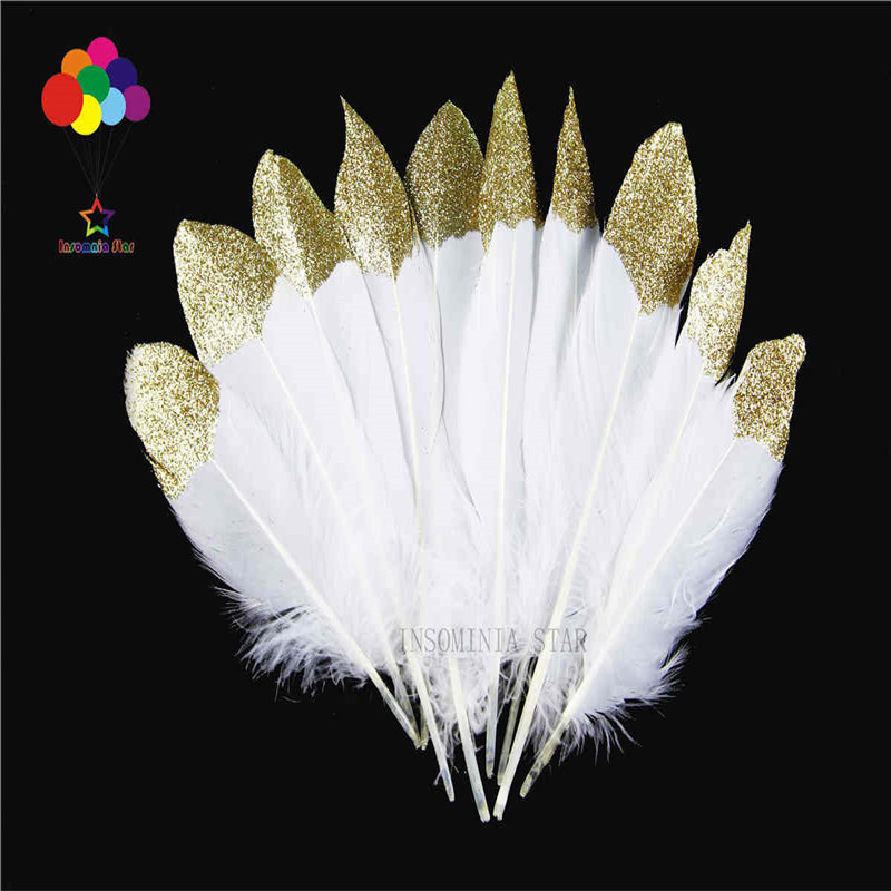 Z&Q&Y Natural 15-20CM Goose feather 100 Bleaching bottom plus Gold powder DIY Clothing Decoration Jewelry Accessories