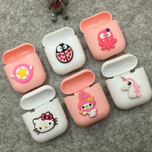 Pink Wireless Bluetooth Earphone Case For Apple AirPods Silicone Charging Headphones Cases for Airpods Protective Cover 3d cute big hero wireless bluetooth earphone for apple airpods 1 2 silicone charging headphones cases baymax airpods pro covers
