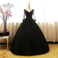 Vintage Ball Gown Black Long Prom Dresses 2018 Real Photo V Neck Lace Beaded Floor Length Tulle Formal Evening Dress Party Gown