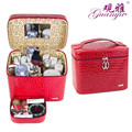 Guanya new Crocodile  leather zipper cosmetics box bag Jewelry Holder Organizer Display Rangement Gift Beauty Jewelry Box