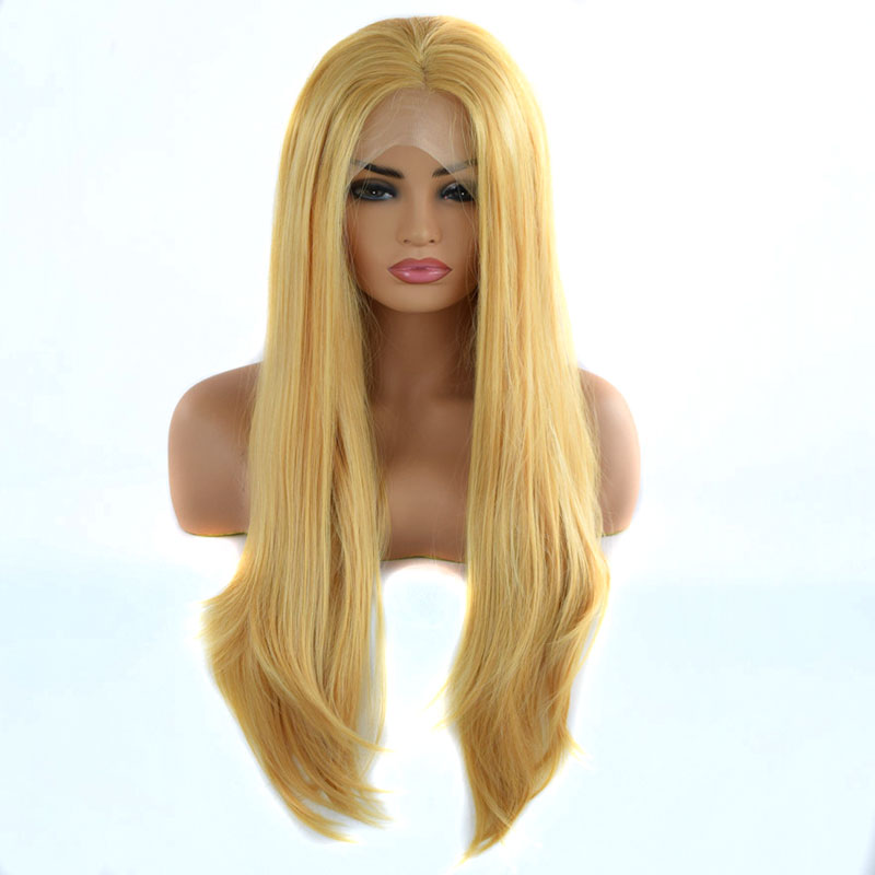 Bombshell Natural Mix Yellow Straight Synthetic Lace Front Wig Heat Resistant Fiber Natural Hairline For White