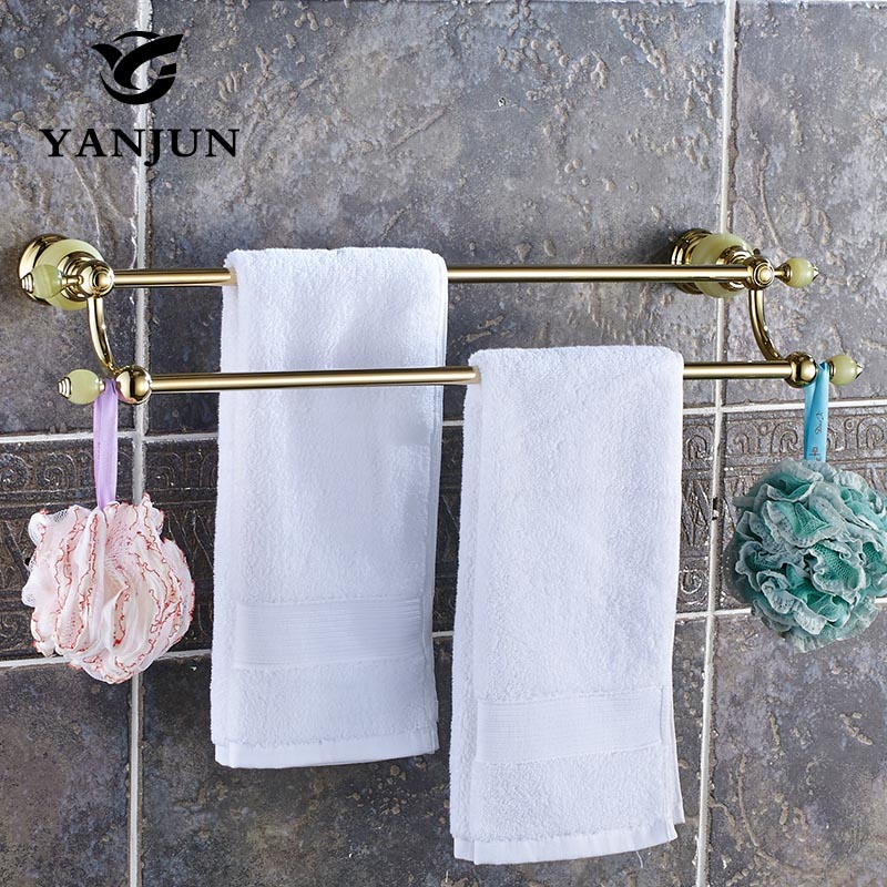 Brass Jade Stone Towel Rail Wall Mounted Golden Double Towel Bars Towel Racks 60CM Bathroom Accessories For Home YANJUN-8159 high quality towel racks brass 50 60cm antique towel rail copper wall mounted towel bar bathroom f503
