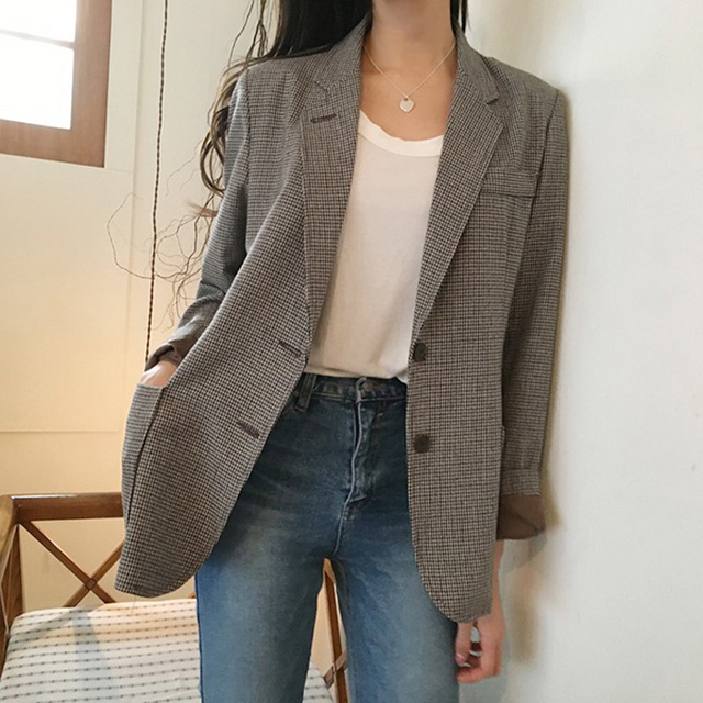 Korean Plaid Office Lady Blazer Jacket Vintage High Quality Fashion Work Suit Elegant Outerwear Feminino 2