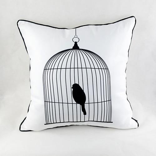 45 * 45 cm Moderne të Kafazit me Zog të Zi të Bardhë Moderne - Tekstil për shtëpi - Foto 1