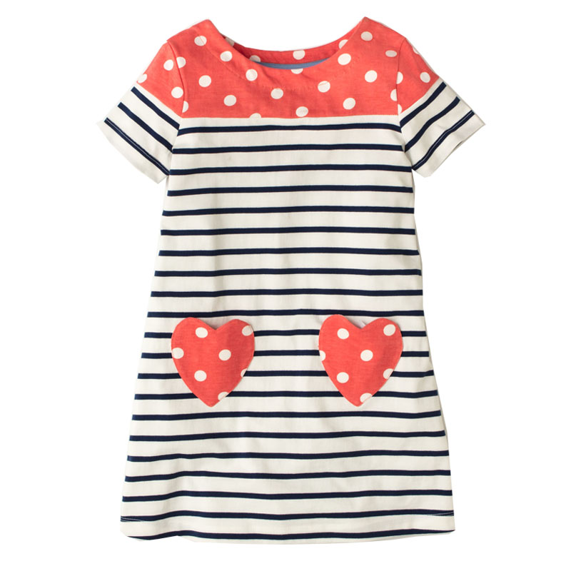 Jumping Meters Kids Dresses for Girls Clothing 2018 Brand Baby Girl Dress Summer Striped Clothes Children Party Princess Dress