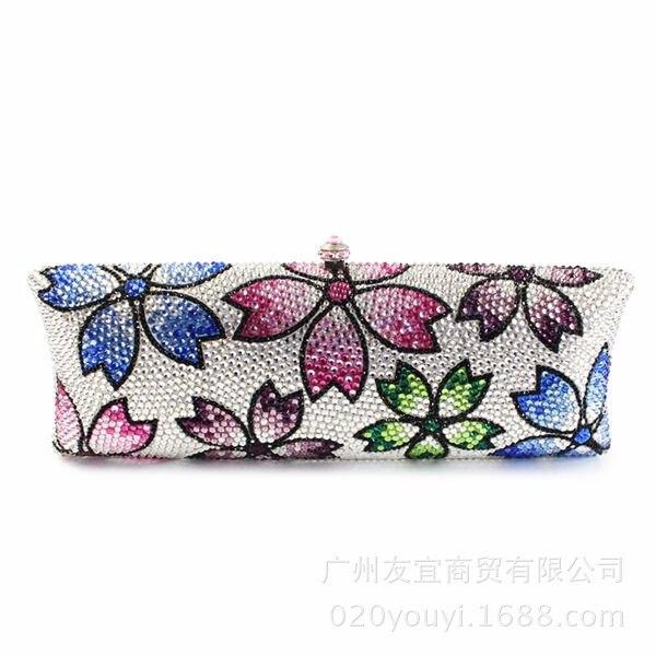 Femmes sacs à main mode classique fête embrayage personnalisé couleur cristal sac dîner sac à main strass cadeau fleur chaîne