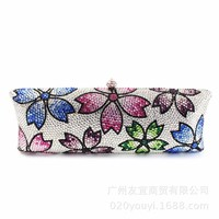 Women Handbags Fashion Classic Party Clutch Personalized Customized Color Crystal Bag Dinner Purse Rhinestone Gift Flower Chain
