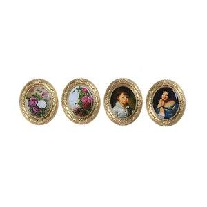 Image 2 - Mini Retro ramki ścienne malowanie ścian 1:12 zabawkowe meble Dollhouse miniaturowe akcesoria udawaj zagraj w klasyczne zabawki